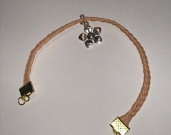 Fishtail braid bracelet with charm