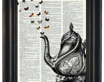 Dictionary Art Print Teapot and Butterflies Art Print Vintage Dictionary Book Art Print Upcycled HHP Original