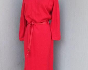 Vintage Red Sweater Dress, Carol Brent, Holiday Dress, Christmas Dress, Valentines, Midi Sweater Dress