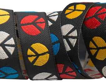 7/8-inch woven jacquard ribbon, Peace Signs, multiple colors on black background.
