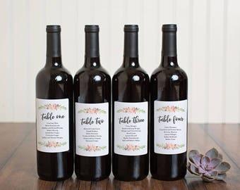 Wedding Seating Chart Wine Bottle Labels \\ INSTANT DOWNLOAD \\ Printable DIY