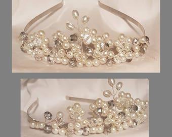 Tiara / Bridal tiara / pearl and crystal tiara /wedding hairpiece/ beaded tiara