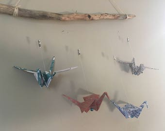 Origami Paper Crane Mobile//Four Birds Mobile