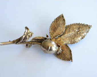 Scandinavian gold on silver 925 FLORA DANICA brooch A2695
