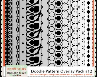 Instant Download - Set of 12 digital paper overlays/templates - Doodle patterns overlay set 12 - CU4CU ok