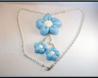 Blue polymer clay Flower necklace