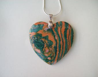 "Green and Orange Malachite Heart Pendant 2"" long"