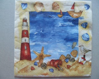 x 1 paper towel on the theme of the sea 33 x 33 cm
