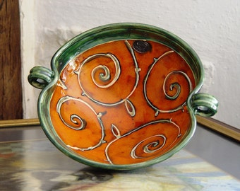 Orange and Green Pottery Fruit Bowl with Hand Painted Floral Decoration, Handmade Ceramic Bowl, Ceramics and Pottery, Danko Pottery