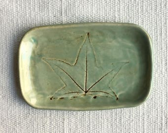 Ready to Ship Leaf Pottery - Gum Tree - Tray - Teal Oxide