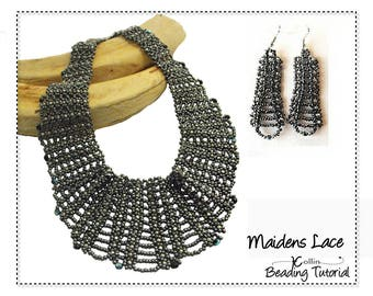 Beading Pattern, Instructions, Tutorial,  Right Angle Weave, RAW, Filigree Lacy Collar and Earring Instant Download Pattern   MAIDENS LACE