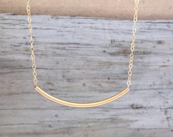 Gold Curved Bar Necklace, 14k Gold Filled Curved Bar Necklace, 14k Gold Filled Tube Necklace, Layering Necklace