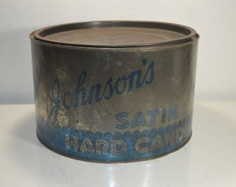 Johnson's Satin Hard Candies Store Counter Tin