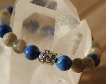 Bracelet beads labradorite and lapis bead Buddha