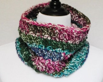 Purple Green Blue and Pink Crochet Cowl, Multi-Colored Draped Neck Warmer, Short Infinity, Collar Scarf - Pink, Aqua, Moss, Teal