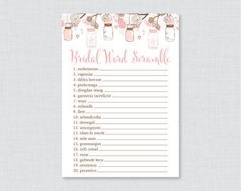 Mason Jar Bridal Shower Word Scramble - Printable Rustic Bridal Shower Game - Pink Mason Jar Bridal Shower Word Scramble 0015-P