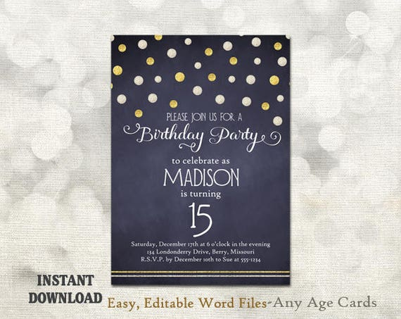 printable birthday party invitation template 15th birthday