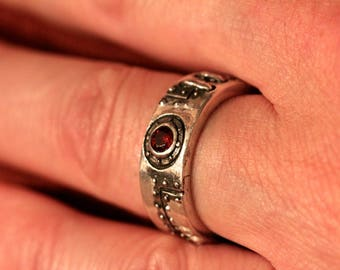 Thick  Industrial ring sterling silver  white diamonds red garnet center stone Made in NYC