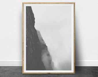 Black and White Photography, Printable Art, Mountain, Minimalist Art, Cliff Face, Printable Wall Decor, Gray Print, Minimalist Home Decor