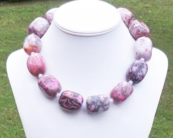 PINK STATEMENT NECKLACE Pink Gemstone Necklace Chunky Pink Necklace Unique Gemstone Necklace Pink Crazy Lace Agate Rectangle 30mm x 20mm