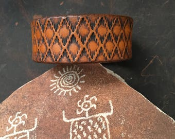 Handmade Stamped Leather Cuff RM22A