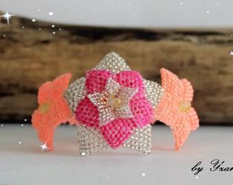 Bracelet Floral Bouquet - White flowers, pink and flamingo