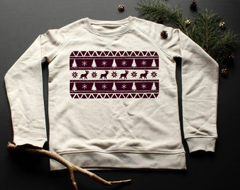 Sweatshirt coordinating pattern / / Burgundy / / boy / / girl / / organic cotton / / organic ink / / gray / / handmade Illustration / / / / fall / / autumn.