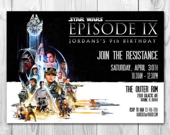 Star Wars Birthday Greeting Free ~ The force awakens invitations rogue one invitations star