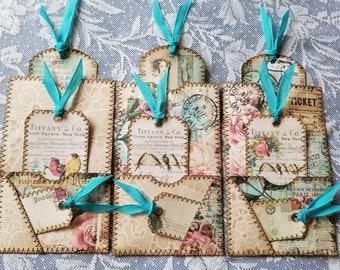 Handmade Journal Pockets Tag Set Shabby Chic Vintage Altered Envelopes CraftyCrusade Tags ephemera for Junk Journal stitching