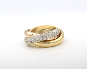 14k Yellow, Rose and White Gold Diamond Pave Polished Trinity Tricolor Band Ring