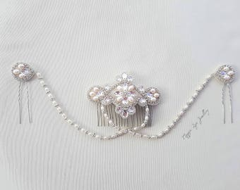 Bridal head piece adorned with Swarovski crystals & freshwater pearls , Wedding hair jewellery, hairpiece back drapes chains bride headpiece