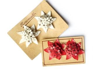 Earrings clip vintage 1940-1950 celluloid flowers - earrings plastic red white retro