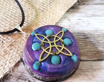 Turquoise Orgone Energy Pendant - Throat Chakra Necklace - Positive Energy Healing Jewelry - Witch's Knot - OOAK - Large