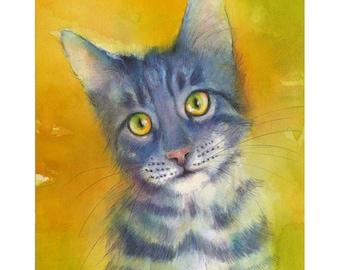 Cat Watercolor - print of watercolor painting. Art Print. Nature or Animal Illustration. Blue and Orange.