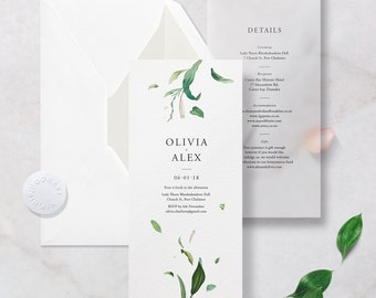 SAMPLE Premium Floral Vellum + Card Wedding Invitation with Lined Envelope and Embossed Sticker