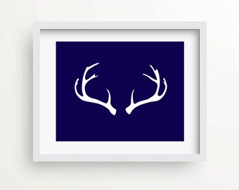 Antler art print, graphic art print, home decor, Navy, antler decor, cabin chic, instant download, rustic decor, boho chic, hunting