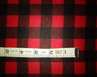 "Red & Black Buffalo Plaid Cotton Flannel Fabric, By the Yard, Half Yard or FQ - 43-44"" Wide - by the FQ, 1/2 Yard or Yard"