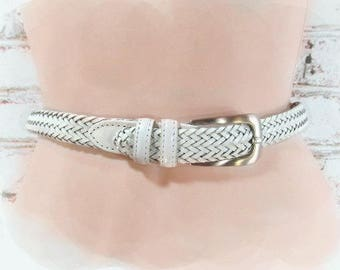 woven belt, White belt,  Boho braided belt, adjustable belt, waist belt -   Size Waist ??? up to 38,  # B 69