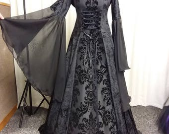 Halloween vampire dress, Gothic dress, black medieval dress, prom gown, renaissance gown, medieval hooded dress, halloween witch costume
