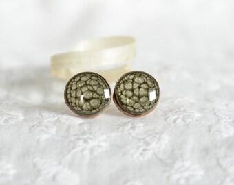 Black earrings, wooden tree branch earrings, hand painted stud earrings, metallic black round studs, black ear silver studs post earrings