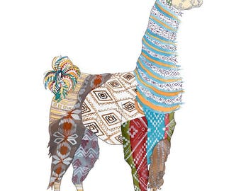 LLama Open Edition // home decor// Art Print// llama art // patterned   5x7, 8x10, 11x14, or 13x19