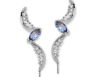 Tanzanite Marquise Ear Pin - GOLD - Gift for mom - Holidays Gift - Christmas Gift - Diamond - WHITE GOLD - Ear Cuff - Ear Crawler - Illusion