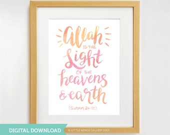 Digital Download, Allah is the Light, Quran Quote, Hand Lettered Watercolour Modern Islamic Wall Art