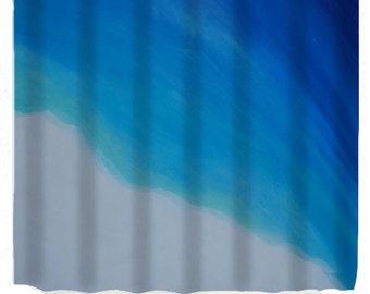 Coastal shores beach shower curtain from my art