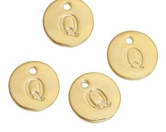 Letter Q - 12mm Golden gold pendant