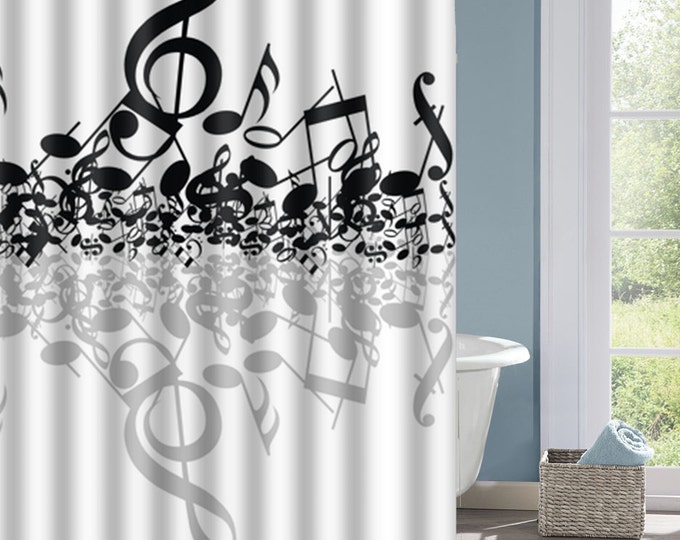 Music Notes Shower Curtain, Music  Bath Curtain, Musical Notes Curtain, Interesting Shower Curtain, Custom Shower Curtain, Decorative