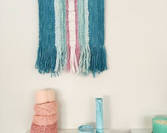 Blue Pink White Wall Hanging Weaving Wall Hanging Tapestry