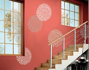 STENCIL for Walls - Chrysanthemum no. 2 - 3 SIZES - Reusable Modern Flower Stencil