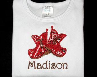 Custom Personalized Applique COWBOY BOOTS and NAME Bodysuit or Shirt - Red Bandana and Brown