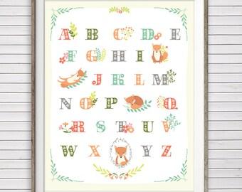 Fox nursery art, Instant Download, 11x14 & 8x10, Woodland nursery art, Fox alphabet print, Fox wall art, Woodland nursery, Alphabet poster